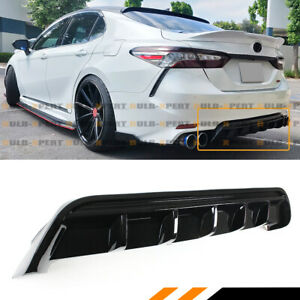 For 2018 2020 8th Gen Toyota Camry Se Xse Jdm Glossy Black Rear Bumper Diffuser