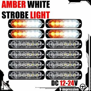 12x Strobe 6 led Light White Amber Emergency Hazard flashing Warning Tow Truck