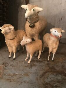 Lot Of Early Old Primitive Wooly Sheep Putz