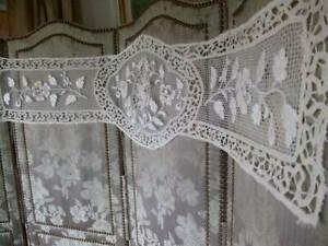 French Antique Openwork Lace Embroidery Cherub Panel