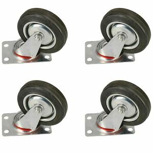 4 100mm Swivel Castor Rubber Wheel Trolley Caster Furniture Movers 4 Pack