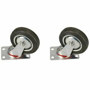 4 100mm Swivel Castor Rubber Wheel Trolley Caster Furniture Movers 2 Pack