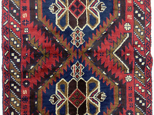 4x6 Red Persian Rug Hand Knotted Wool Heriz Blue Vintage Geometric Runner 3x6 Ft