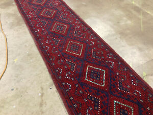 2x9 Vintage Wool Runner Hand Knotted Persian Rug Antique Serapi Caucasian 2x8 Ft