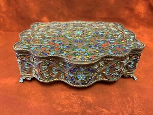 Large Antique Russian Silver Enamel Box
