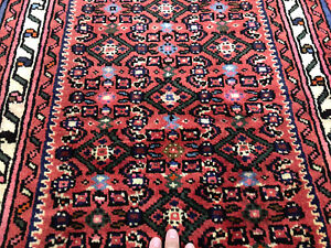 2x10 Persian Runner Rug Wool Hand Knotted Coral Red Green Pink Blue Geometric