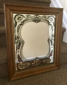 Victorian Reverse Painted Etched Wall Wood Frame Mirror Cherubs Cupid Nymphs