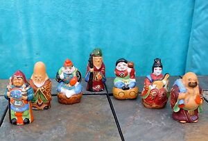 Antique Lot Set Of 7 Chinese Qing Famille Rose Long Life Porcelain Buddha Statue