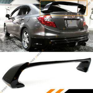 For 2012 15 9th Honda Civic Sedan Glossy Blk Jdm Mug Rr Style Trunk Spoiler Wing