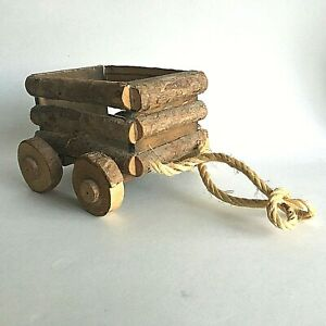 Vintage Wood Wooden Cart Wagon Candy Container Dish Bowl 5 5 X 5 X 4 Primitive