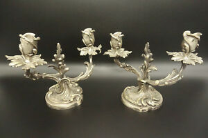 Pair Of Candleholders Rococo Style Era 19th Bronze French Antique