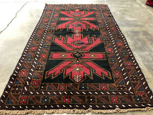 4x6 Black Hand Knotted Persian Rug Wool Foundation Red Oriental Rugs Runner 3x6