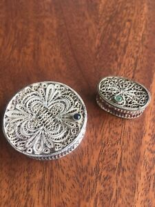 2 Vintage Sterling Silver All Filigree Trinket Box With Precious Stones