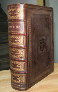 Large 1862 Antique Family Holy Bible Beautiful