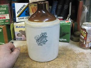 Western Stoneware 2 Quart 1 2 Gallon Shoulder Crock Jug Whiskey Pottery Antique