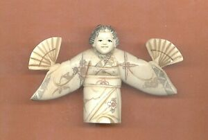 Geisha With Fan Open Arms Hand Carved Okimono Netsuke Vintage Figurine
