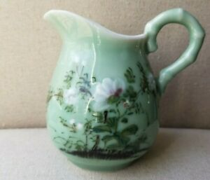 Japanese Celadon Hand Painted Pitcher From Meiji Period Late 19th Century