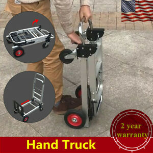 2in1 Folding Aluminum Alloy Hand Truck 200kg Convertible Portable Dolly 4 Wheels