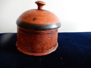 Antique Afghanistan Small Round Painted Wood Spice Box Circa 1800