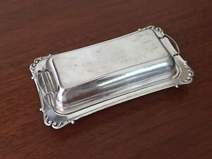 Sterling Silver Antique Scrolled Edge Butter Dish 9 4oz Marked W 7 5 Long