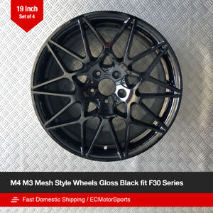 19 M4 M3 Mesh Style Gloss Black Wheels Fit Bmw F30 F31 F32 F33 F36
