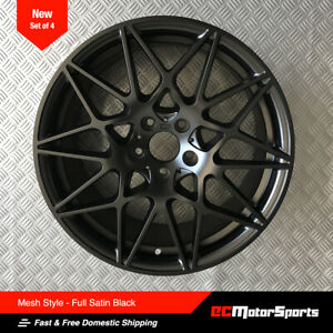 19 M4 M3 Mesh Style Satin Black Wheels Fit Bmw F30 F32 F33 F36
