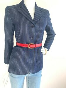 Dkny 90s Pinstripe Blazer Collar Button Down Well Pockets Lined Cotton Navy S 6p