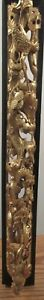 Ornate Antique Chinese Deep Gold Wood Carving Scene Cranes Birds In A Tree 23