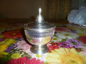 Authentic Vintage Tiffany Co Sterling Silver And Blue Glass Sugar Bowl