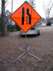 Make An Offer Metal Road Construction Sign Holder stand With Lane Sign