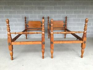 Frederick Duckloe Tiger Maple Childs Twin Acorn Poster Beds A Pair