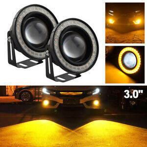 Universal 3 0 Inch Led Fog Light Projector Cob Angel Eyes Halo Ring Yellow Usa