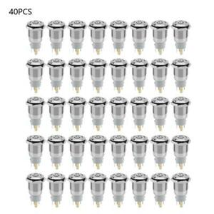 40pcs 16mm Self locking Waterproof Metal Push Button Switch With Led Light 12v