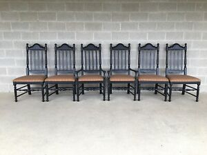 Broyhill Attic Heirlooms Black Distressed Finish Dining Chairs Set Of 6
