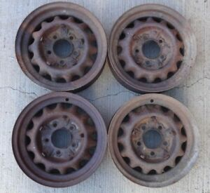 1933 1934 Ford 16 Artillery Wheels Original 5 Lug Coupe Sedan Pickup Truck Set4
