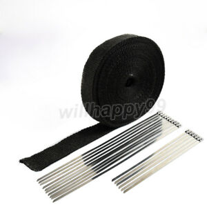 Motorcycle Exhaust Heat Wrap Protection Black Header Tape 16 Stainless Ties Kit