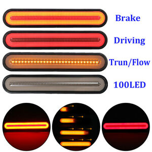 2x 100 led Flowing Reverse Brake Turn Signal Rear Tail Light Car Truck Trailer