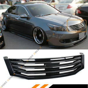 For 2008 2010 8th Gen Honda Accord 4 Door Sedan Glossy Black Front Grille Grill