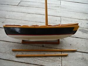 Antique Vintage Hand Crafted 17 L Wooden Model Sail Boat Painted Hull Vgc