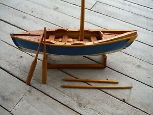 Antique Vintage Hand Crafted 17 1 2 Wooden Model Sail Boat Painted Hull Vgc