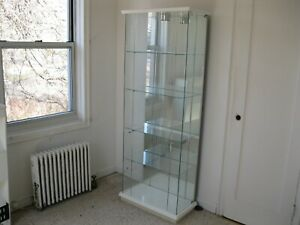 Beautiful Large Cabinet Curio Glass Display Case Stand With Light home store