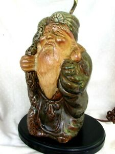 Chinese Immortal Lamp Stoneware Figure Signed C 1920 S