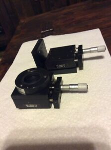 2 Ea Del tron Linear Ball Slide Positioning Stage Used W Starrett 463 Micrometer