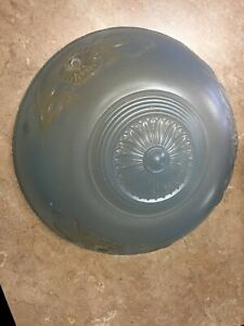 Vintage Antique Blue Glass Clear 10 Shade Ceiling Light Fixture 3 Hole Hangers