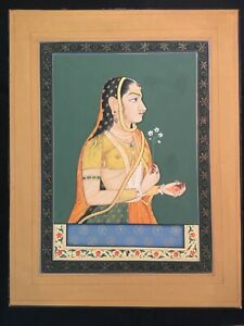 Antique Indian Miniature Painting On Paper Portrait Of Young Woman With Flower