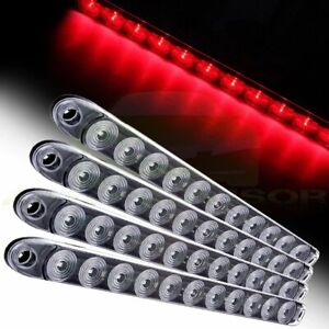 4x 15 Clear red 11 Led Trailer Truck Rv Stop Tail Turn Brake Light Bar Sealed
