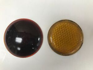Vintage Original 1950 S Yellow And Red Reflectors
