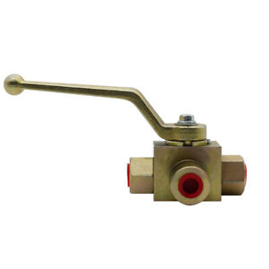 Hydraulic High Pressure 3 Way Steel Colored Ball Valve 1 4 Npt 7250 Psi