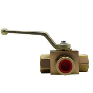 Hydraulic High Pressure 3 Way Steel Colored Ball Valve 1 2 Npt 7250 Psi