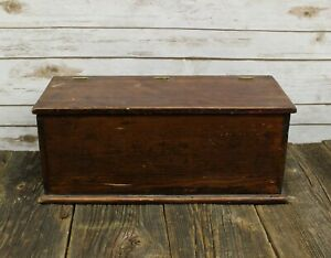 Antique Hand Crafted Stained Wood Storage Box Chest Opening Hinged Lid 19 5